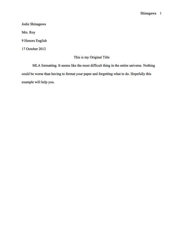 MLA Paper Format - MrsRoy\u0027s 9 English Class