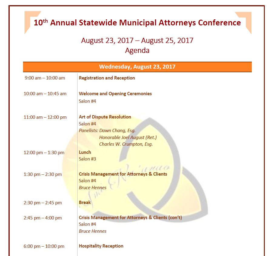 Agenda \u2013 10th Annual Statewide Municipal Attorneys Conference