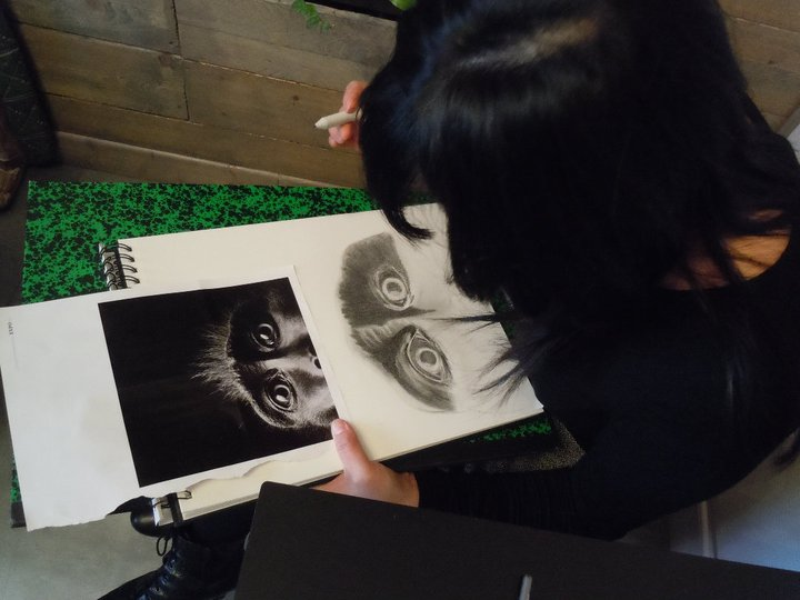 One of Mauricio Cordero's drawing students at work.