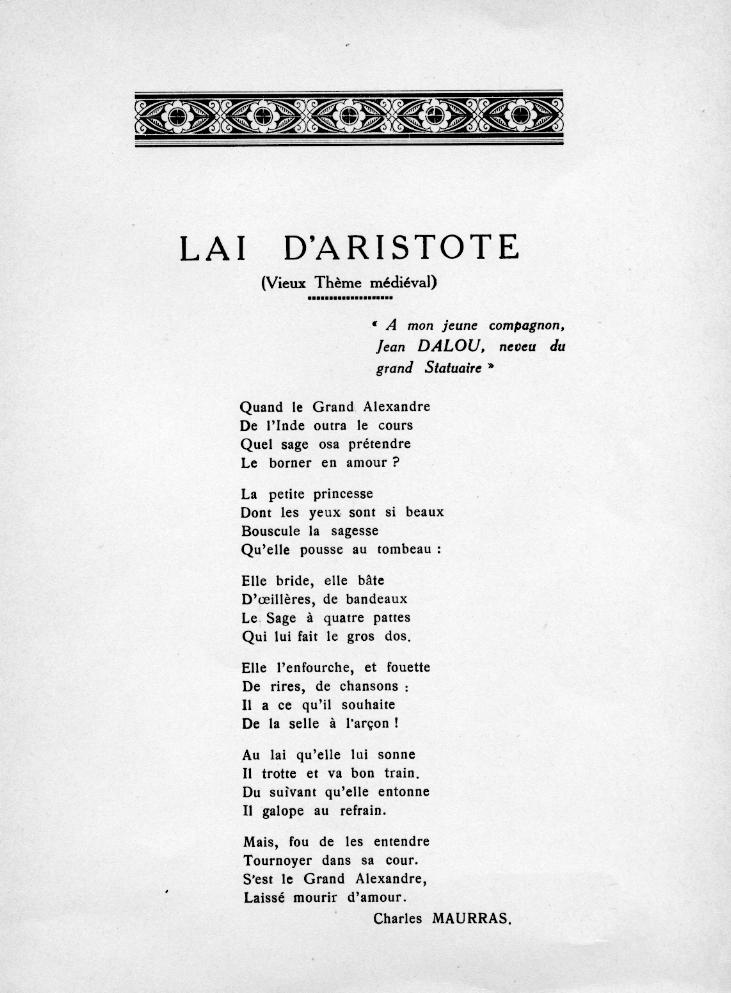 Le Lai d'Aristote, par Charles Maurras, 1950.