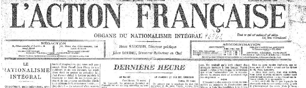 L'organe du nationalisme intégral