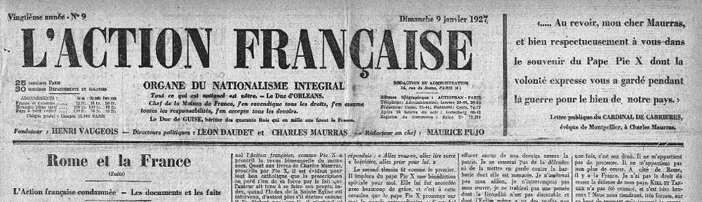 Une de l'AF du 9 janvier 1927 annonçant la condamnation romaine (détail)