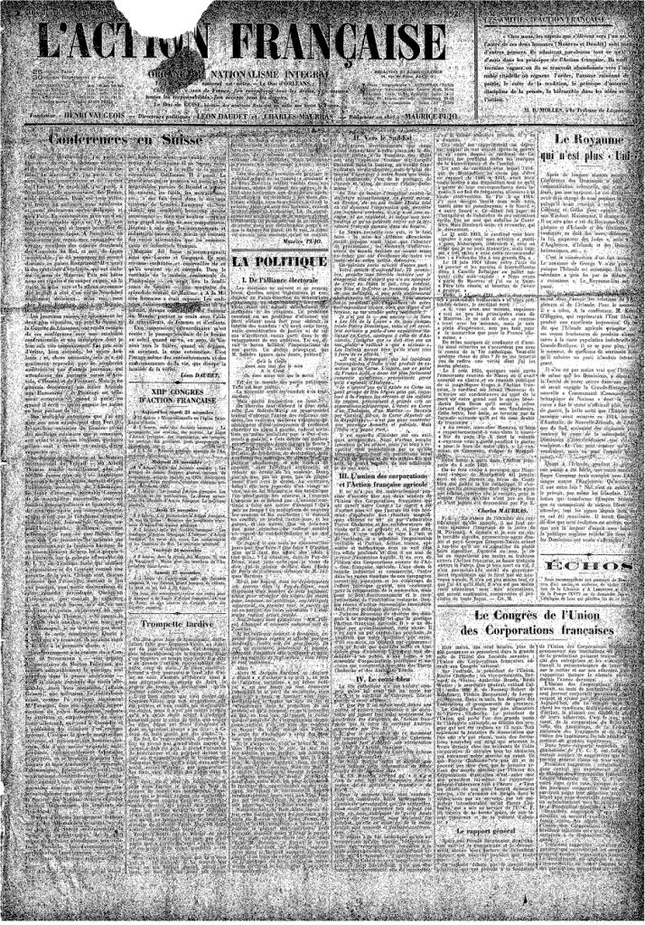 Une de l'AF du 23 novembre 1926