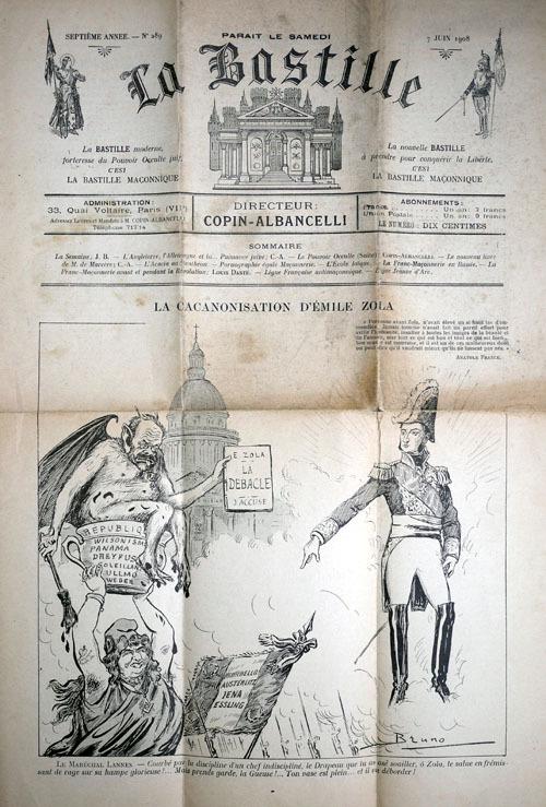 La Cacanonisation d'Émile Zola - La Bastille, 7 juin 1908.