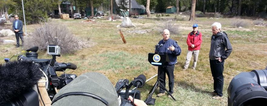 Governor Brown at snow survey