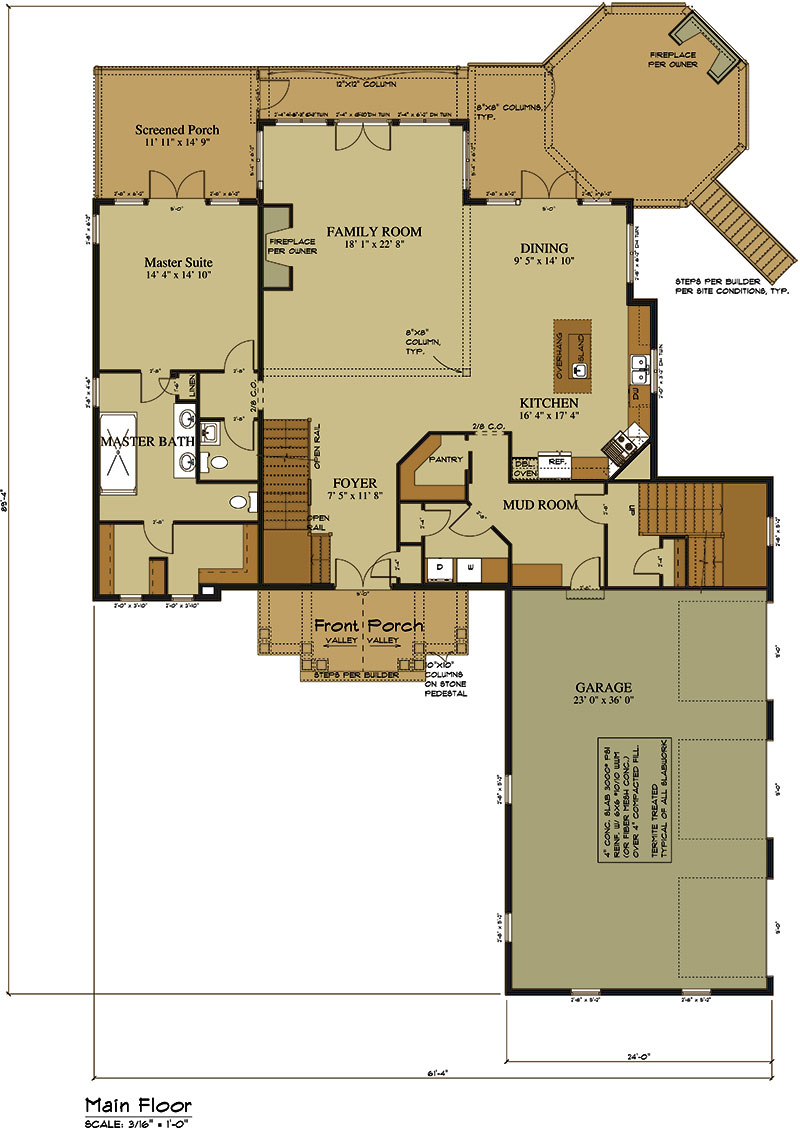 Tandem Garage House Plans 3 Car Garage Lake House Plan Lake Home Designs