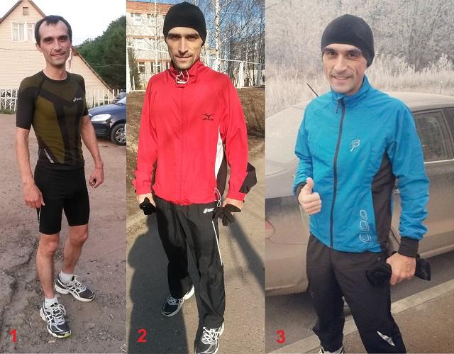 1. Летний вариант: футболка, тайтсы (облигающие шорты); 2. Вариант осень-весна: Однотонные брюки, футболка и спортивная куртка, шапка, перчатки; 3. Для бега зимой: термобелье, лыжный костюм, зимние кроссовки.