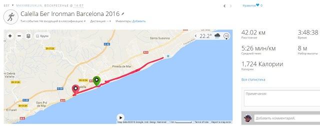 Данные с часов Garmin. Марафон на Ironman Barcelona 2016.