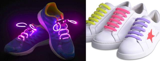 Светящиеся и резиновые шнурки.