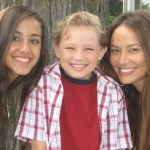 Maxim Knight with Moon Bloodgood and Seychelle Gabriel from Falling Skies