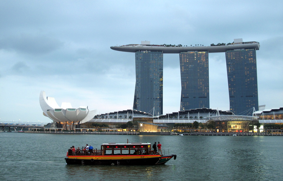 Marina Bay Sands Hotel in the evening