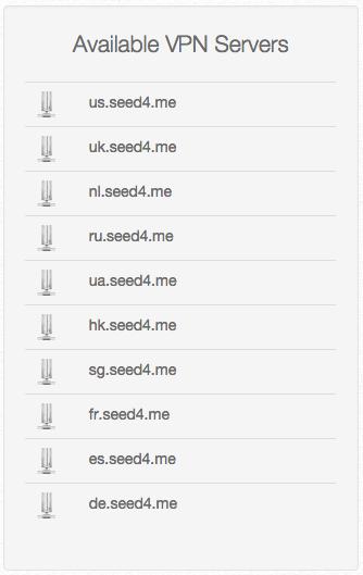 Список серверов Seed4.me по странам.