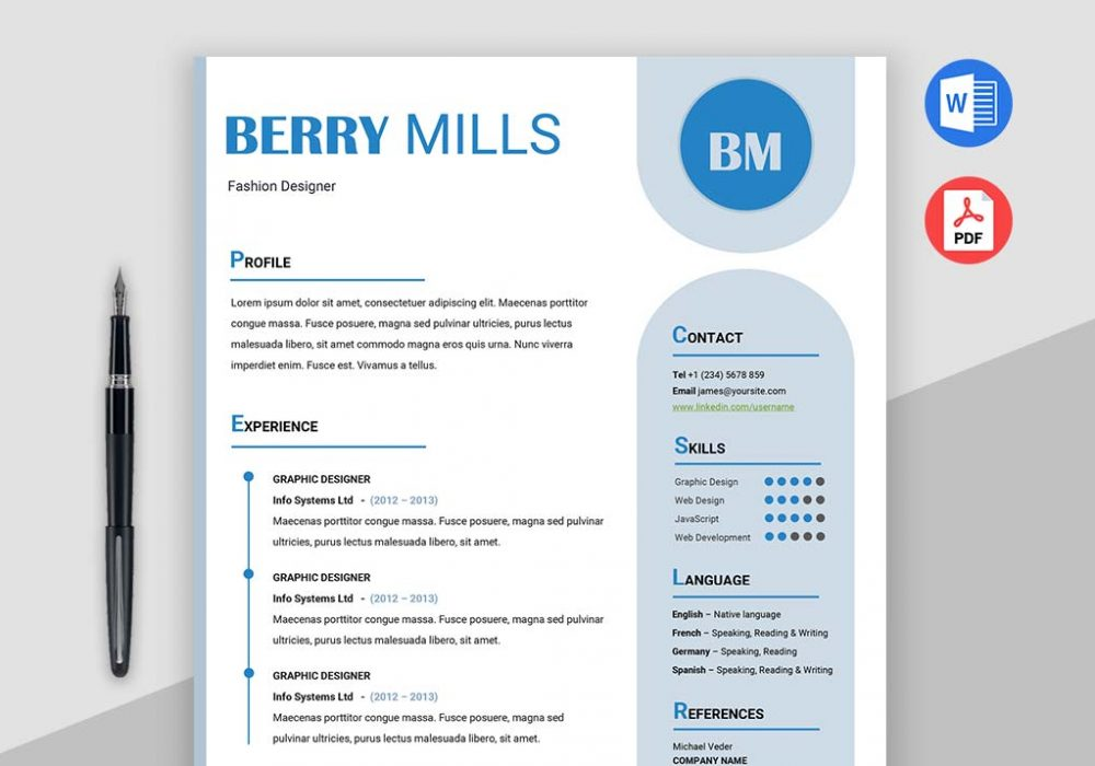 UX Clean and Simple Free Designer Resume Template MS Word Format