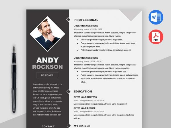 White background Color Simple Resume Templates