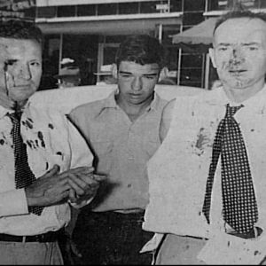 Anti-Gambling Movement Leaders in 1952 Phenix City after they were beaten outside the polling place on election day.