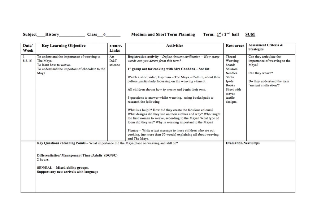 Maya Weaving Lesson Plan - Maya Archaeologist - what is a lesson plan and why is it important