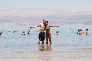 My husband and I in the Dead Sea, Israel