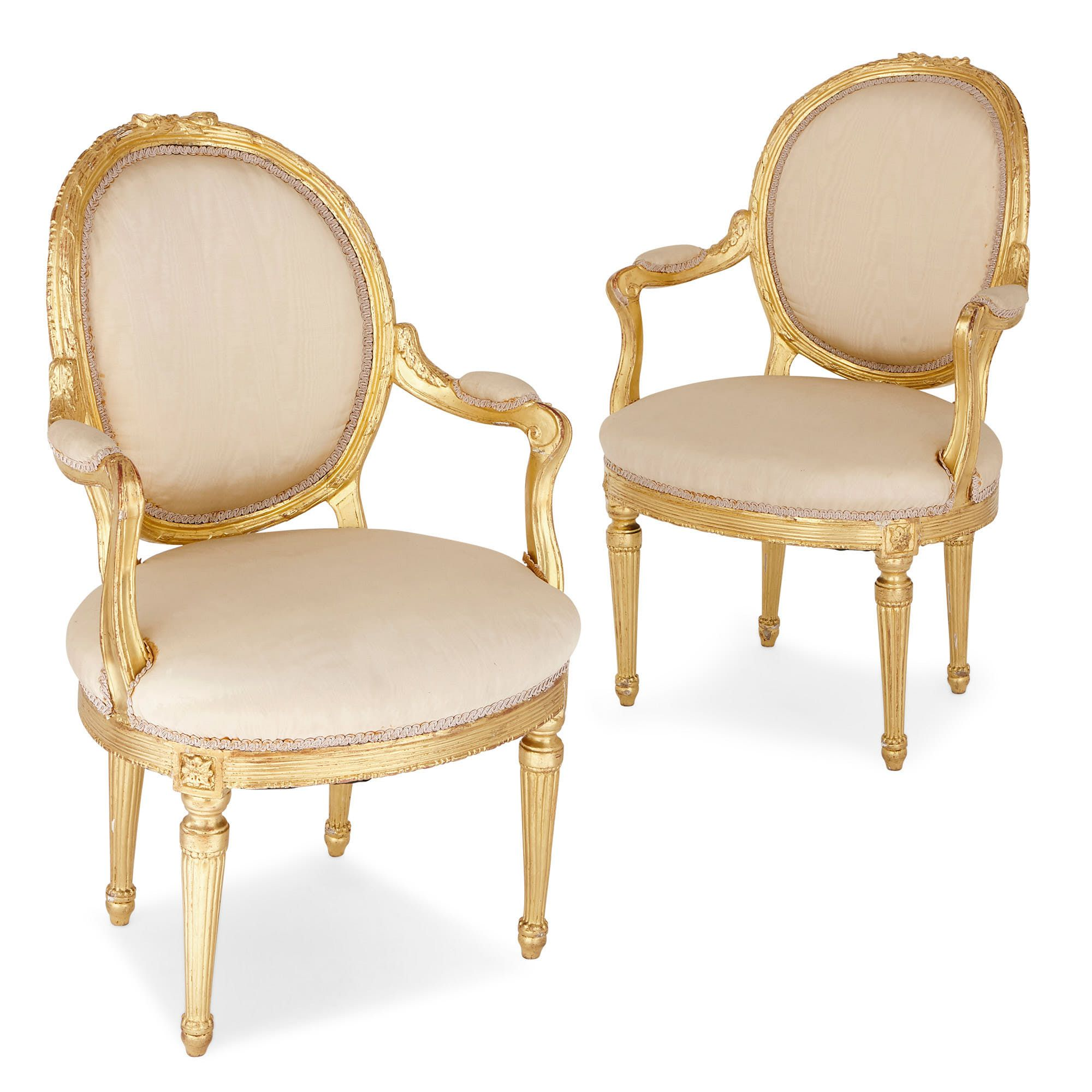 Pair Of Antique Louis Xvi Style Giltwood Armchairs Mayfair Gallery