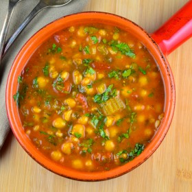 spiced chickpea soup #Chickpeas, #garbanzo, #soup #vegan #vegetarian #turmeric #Cumin #cilantro