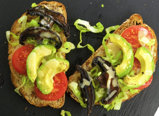 Vegan Open Faced BLT Grilled Cheese