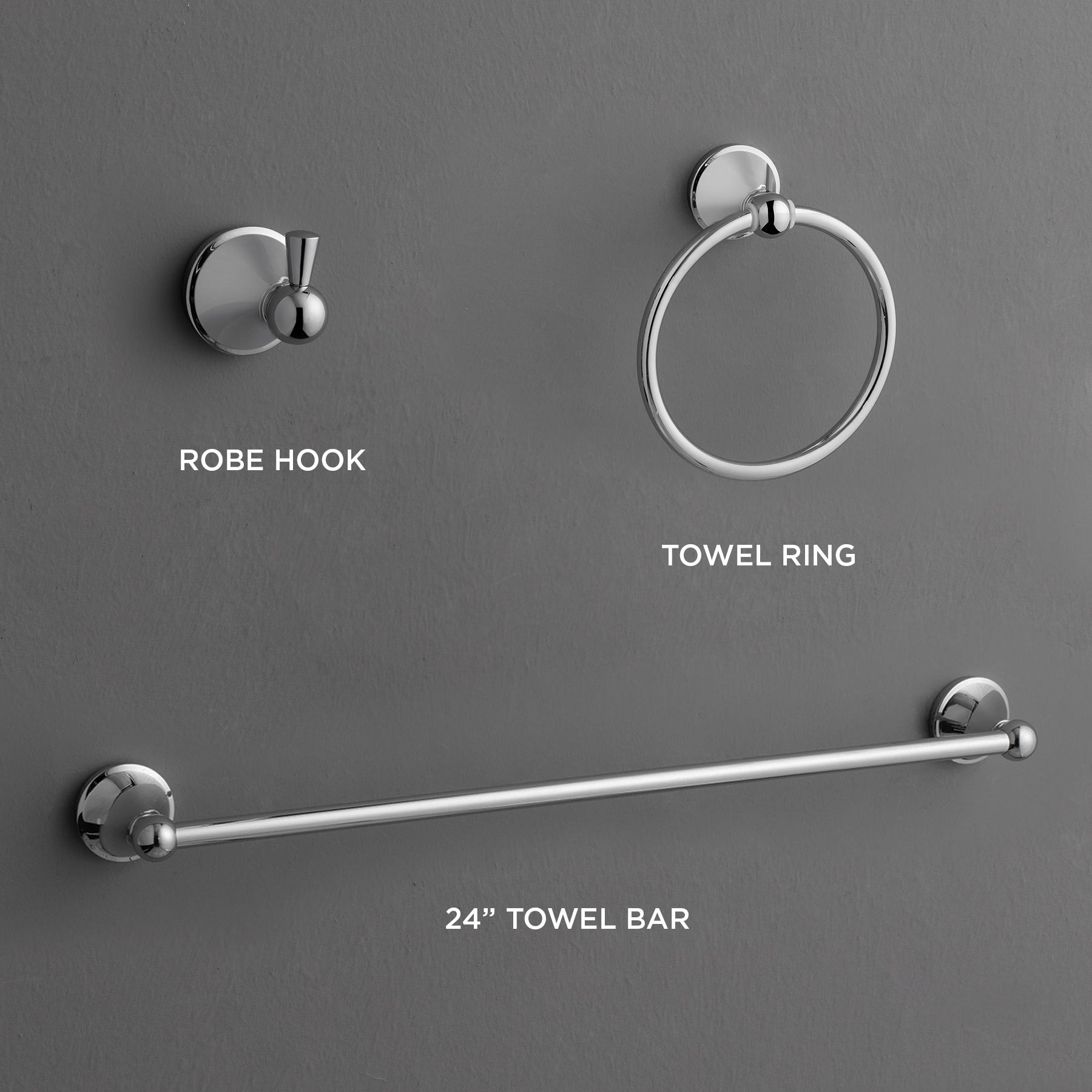 Countertop Towel Ring Charlotte 3 Piece Bathroom Hardware Set With 24 Quot Towel Bar