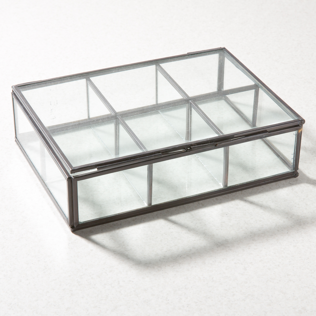 Display Glas Glass Jewelry Display Box 6 Partition Black