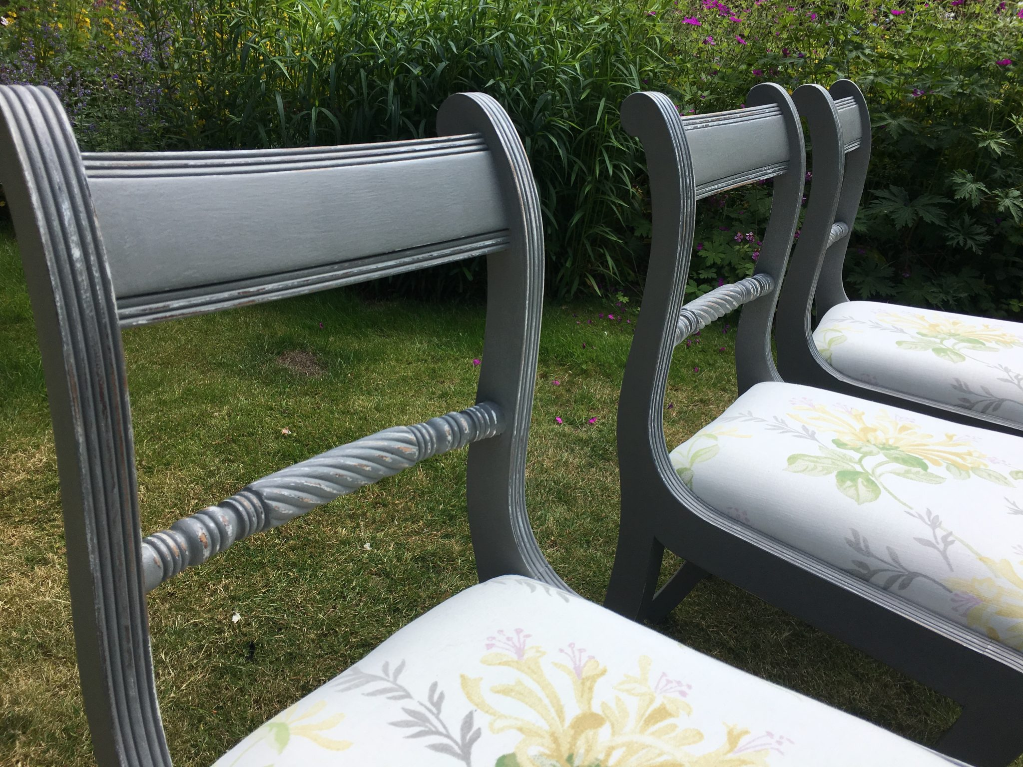 Set Of Four Hand Painted Vintage Shabby Chic Chairs With