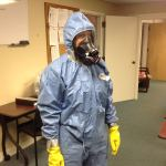 Group 4 Maynard Firefighter Angela Lawless practices Hazmat Suit procedures in response to the worldwide Ebola Virus outbreak. (Courtesy of the Maynard Fire Department)