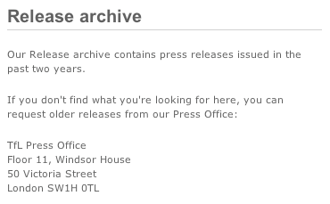 TfL archive of press statements has vanished
