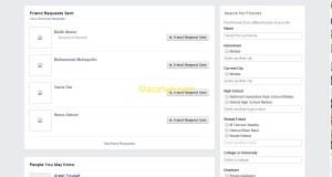 Facebook Sent friend request