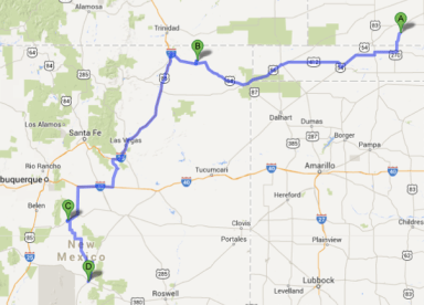 KS-NM route map