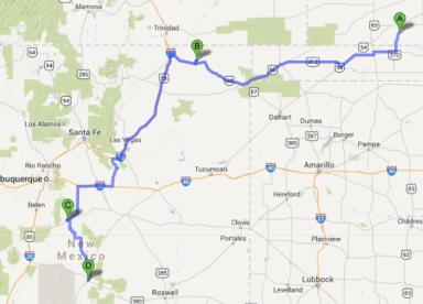 KS-NM route map