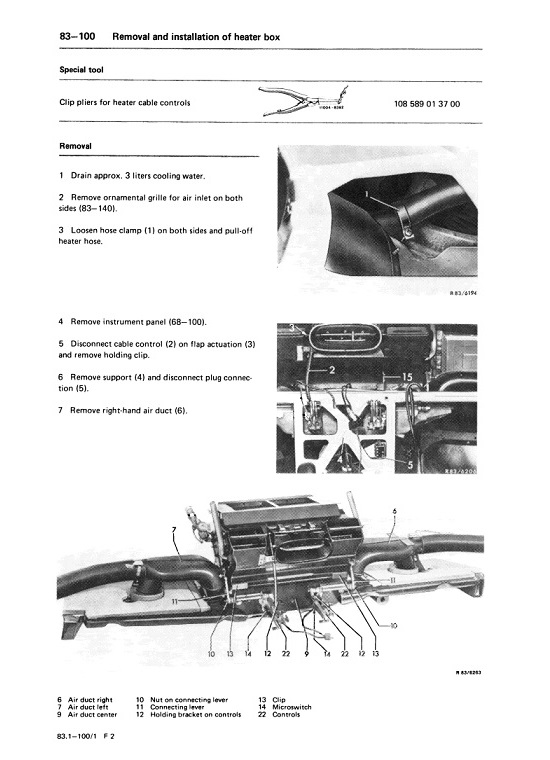 Mercedes Benz 107 Climate Control Heat AC Air Condition Manuals
