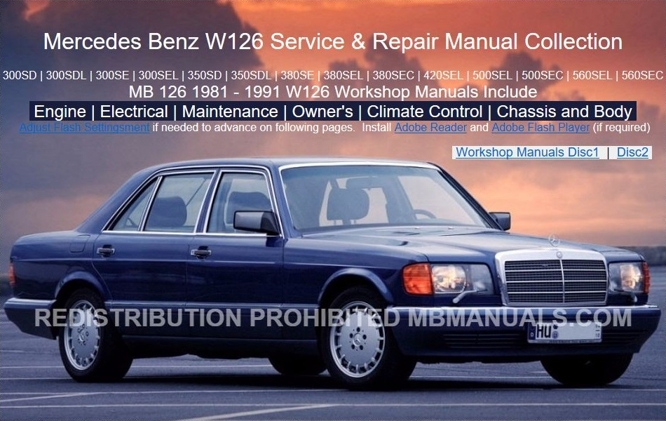 Mercedes Benz W126 Service Repair Manual Collection