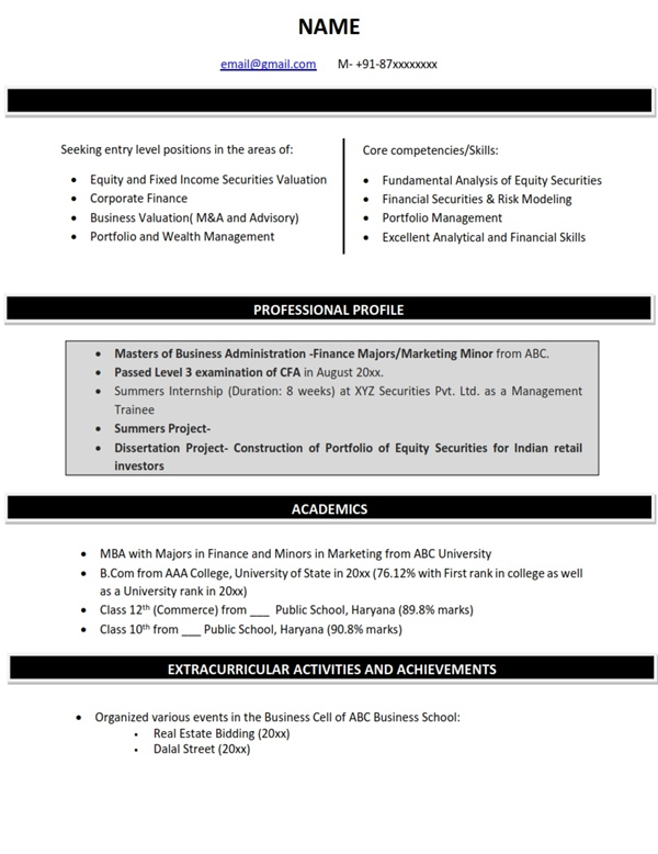 Resume Sample Formats for Industry CV Examples  Templates MBA