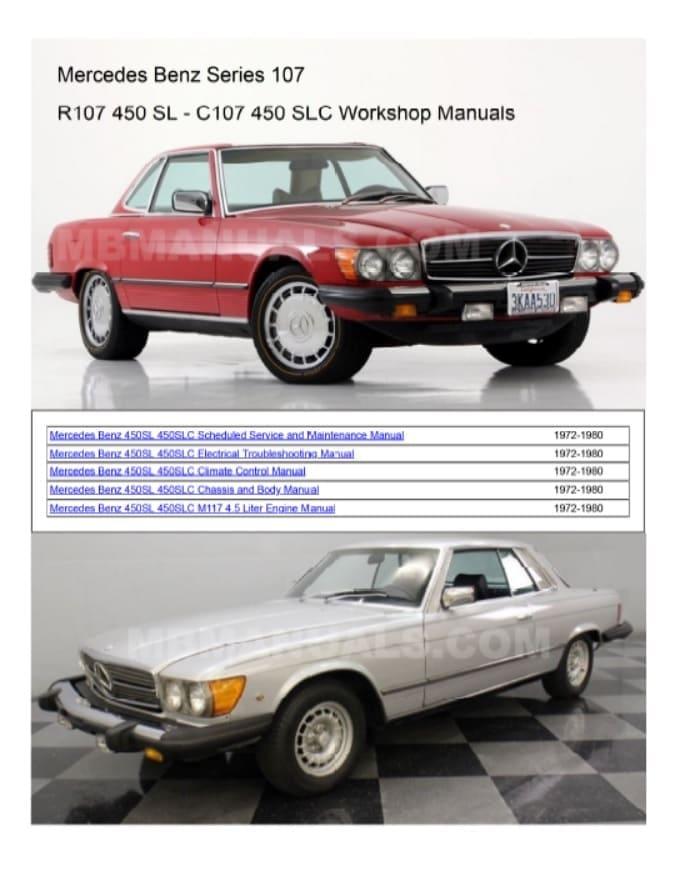 Mercedes Benz R107 450SL Service Repair Manuals