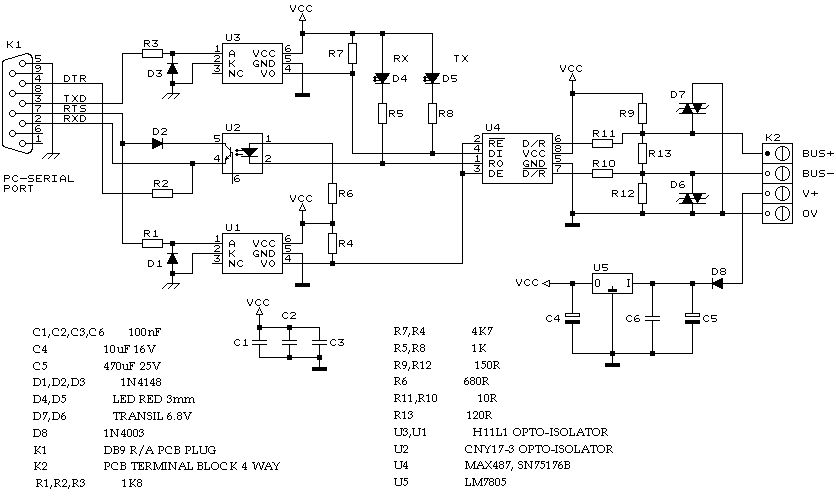 MB Star C3 RS232 to RS485 cables wiring diagram MBStar diagnosis