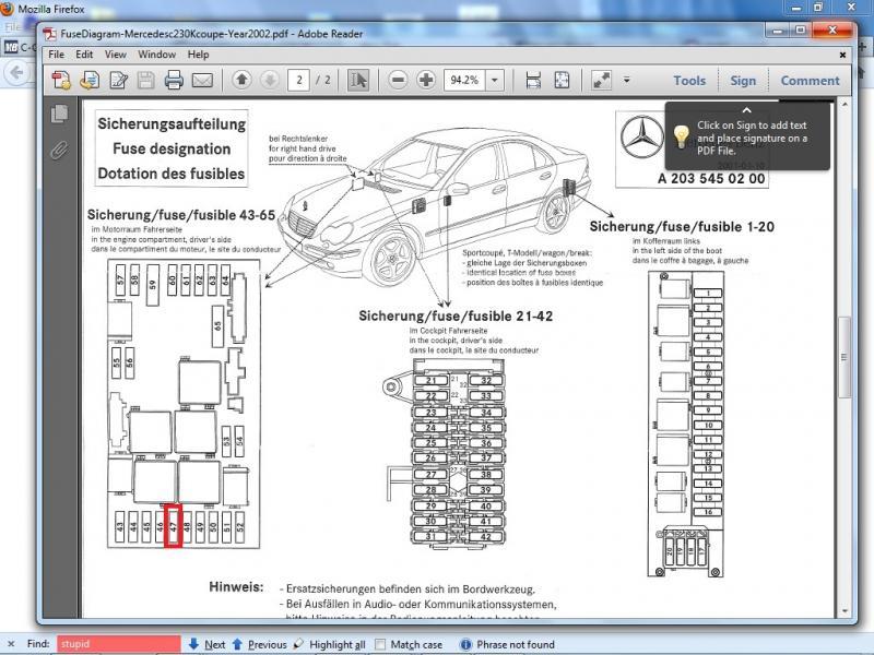2002 mercedes c230 fuse box diagram