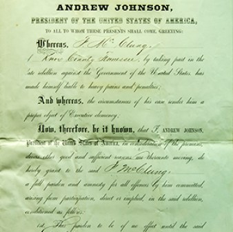 Andrew Johnson Pardon, 1865, Paper, 17 in. high, 11 in. wide. Bequest of Judge and Mrs. John Green, 1957