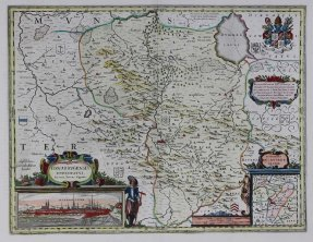 Osnabrugensis episcopatus (Map of the German province of Hanover centered on Osnabruck), 1643, Willem Blaeu and Joannes Gigas, Hand-colored engraving, Gift of Jeffery M. Leving, Founder, Fathers' Rights, 2014.17.53.