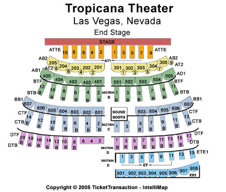 Tropicana Theater Seating Chart - Tropicana showroom seating chart