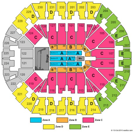 Oracle Arena Seating Chart Concert Elcho Table