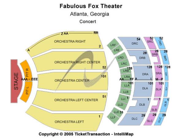 Fabulous Fox Theatre Tickets in Atlanta Georgia, Seating Charts