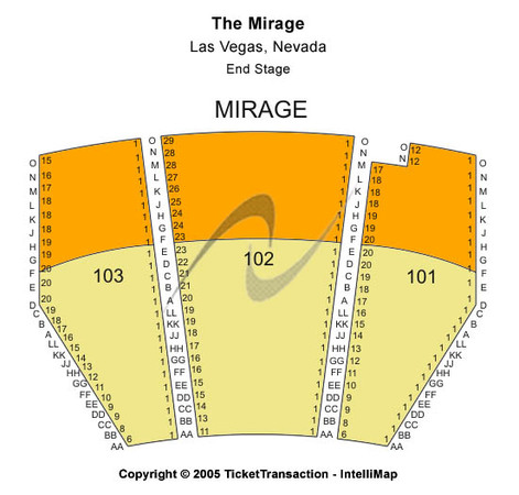 The Mirage Tickets in Las Vegas Nevada, The Mirage Seating Charts