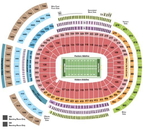 Lambeau Field Tickets in Green Bay Wisconsin, Lambeau Field Seating