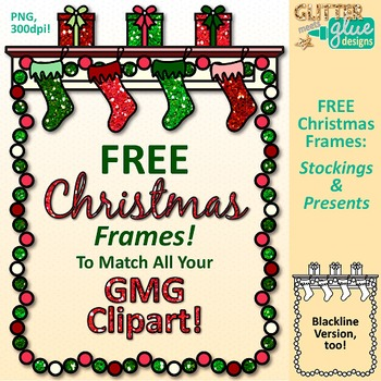 Christmas Frames Clip Art Free Page Border Graphics 2 {Glitter