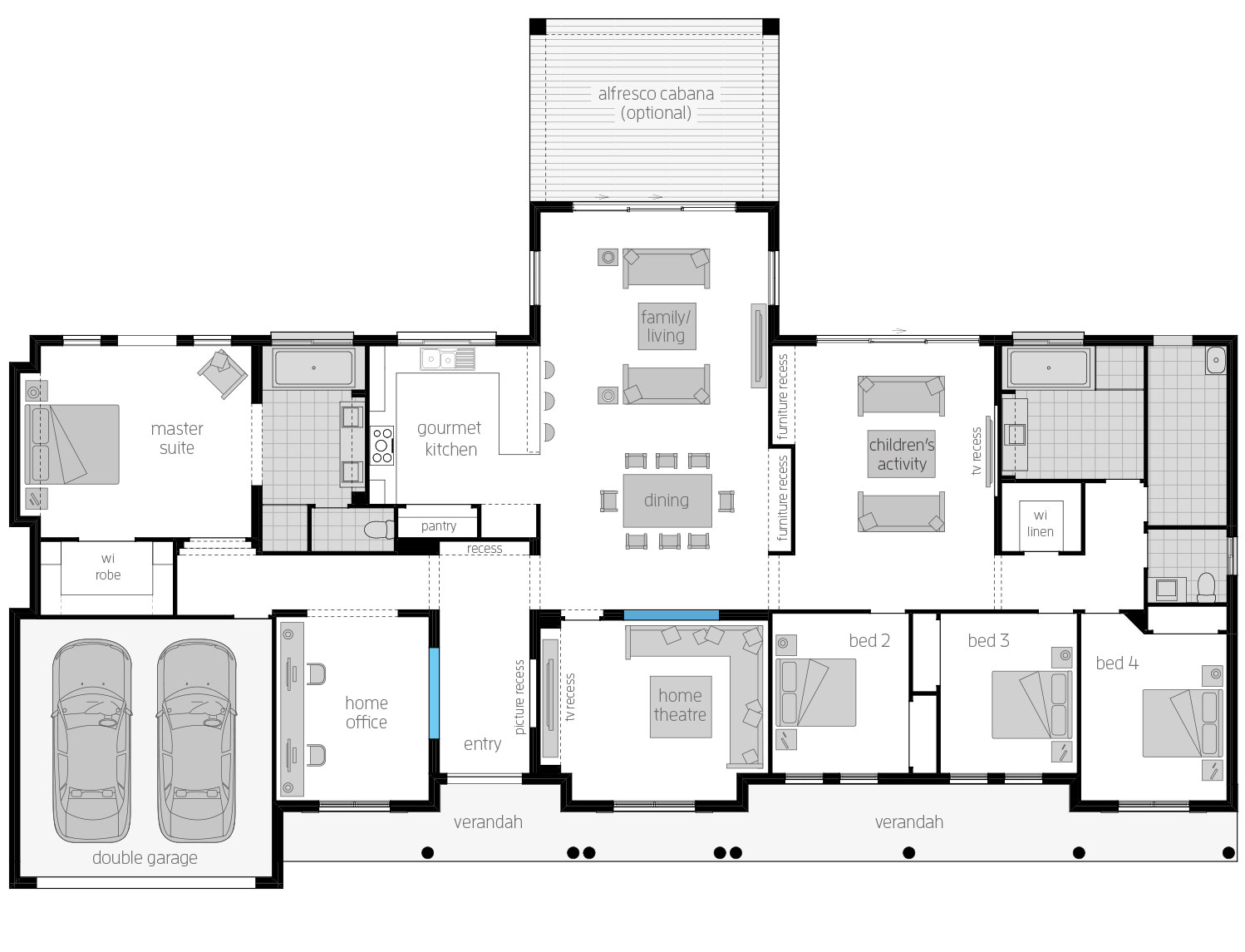 Home Design Floor Plan Bronte Acreage Homes Designs Mcdonald Jones Homes