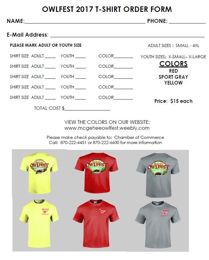 Owlfest T-shirt Order Form - McGehee Owlfest - t shirt order forms