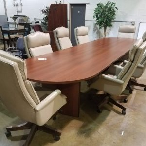 14 Ft Conference Table With 8 Executive Chairs