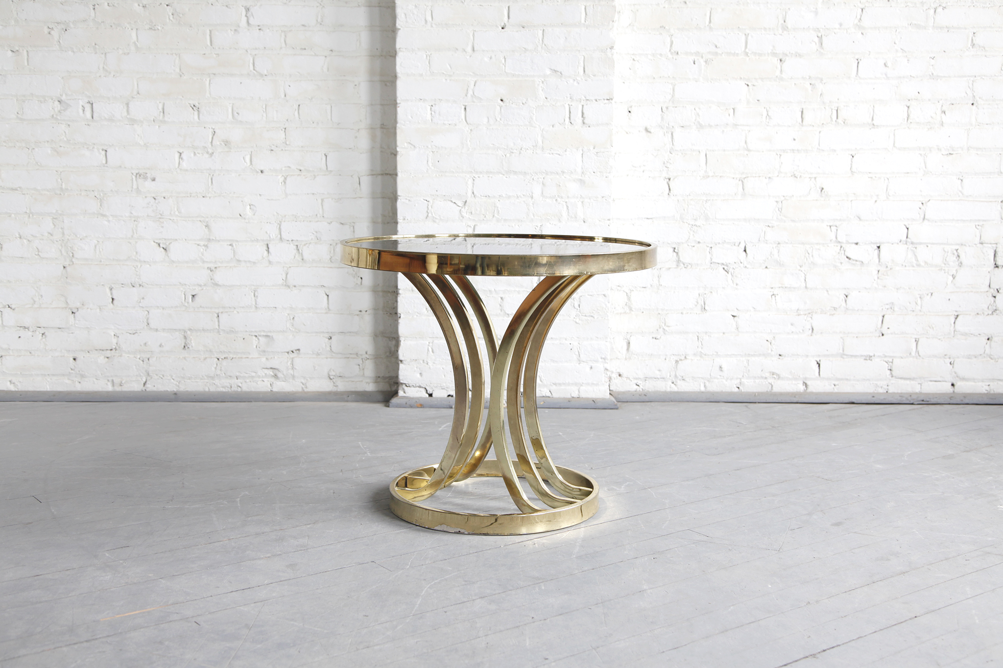 Round Mid Century Coffee Table Sold Mid Century Modern Hollywood Regency Round Brass And